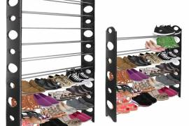 OxGord Shoe Rack for 50 Pair Wall Bench Shelf